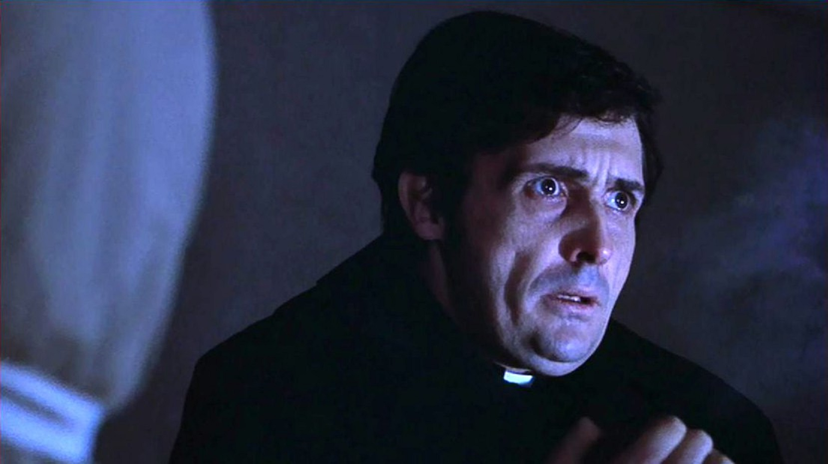 Jason Miller as Father Damien Karras, troubled by matters of faith in The Exorcist (1973)