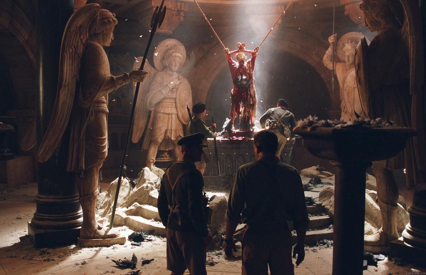 Stellan Skarsgård, Julian Wadham enter the desecrated church in Exorcist: The Beginning (2004)