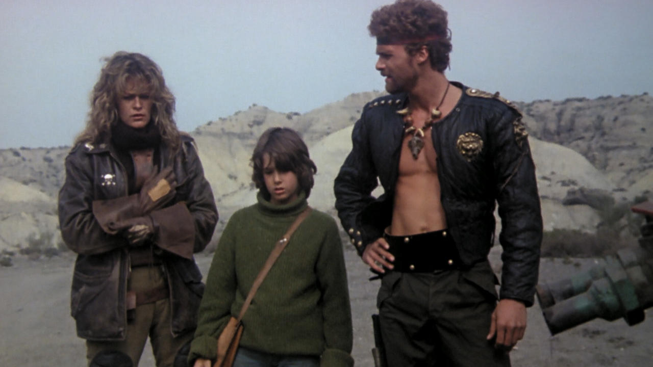 Trash (Alicia Moro), Tommy (Luca Venantini) and Alien (Robert Iannucci) in The Exterminators of the Year 3000 (1983)