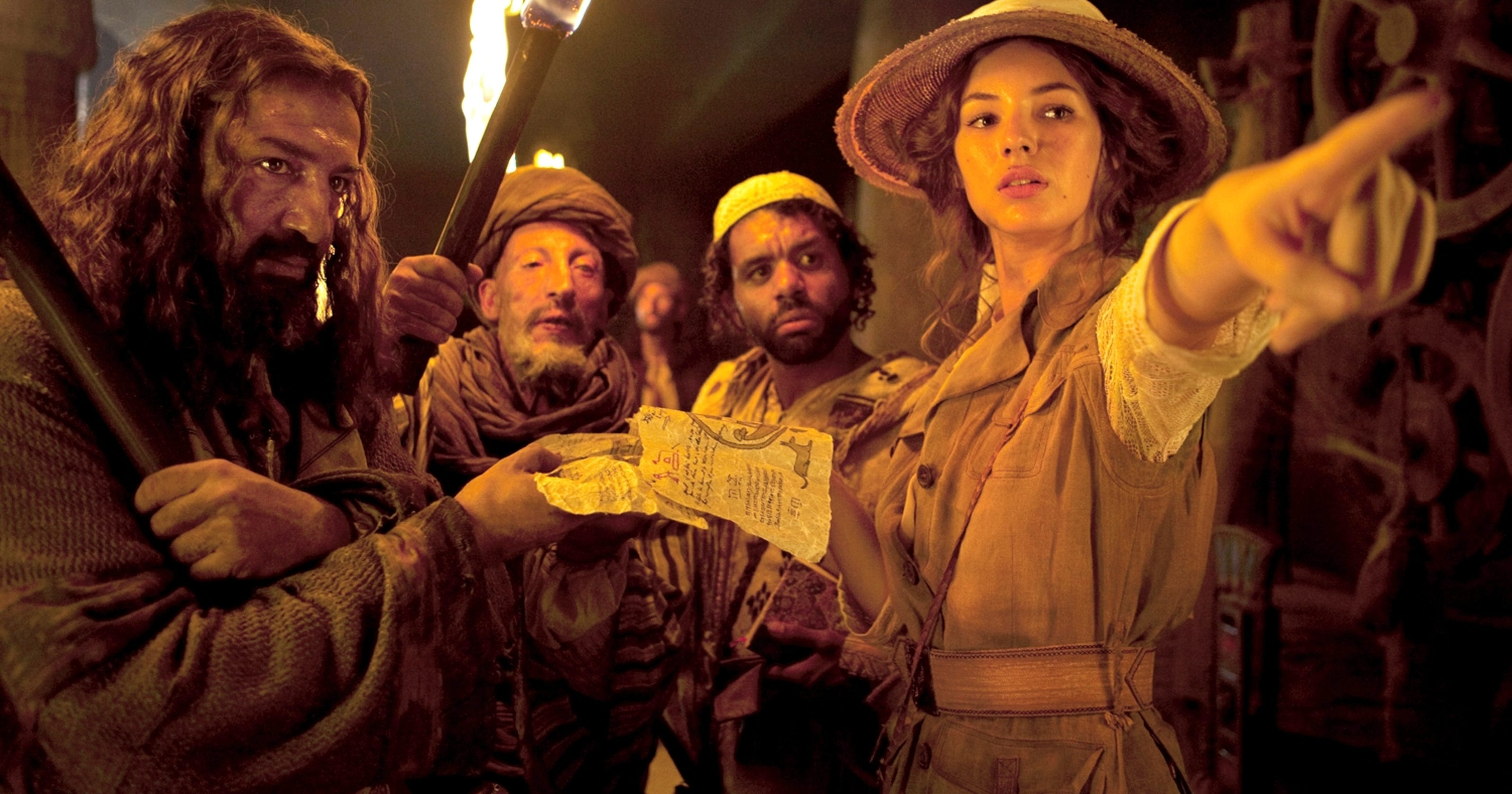 Tomb-raiding adventures with (l to r) Moussa Maaskri, Mostefa Zerguine, Youssef Hajdi, and Adele Blanc-Sec (Louise Bourgoin) in The Extraordinary Adventures of Adele Blanc-Sec (2010)