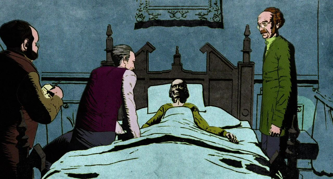 People gather at the bedside of the hypnotised Valdemar in The Facts in the Case of M. Valdemar episode of Extraordinary Tales (2015)