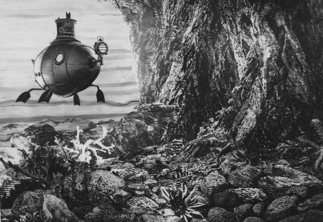 The submarine with finned paddles in The Fabulous World of Jules Verne (1958)