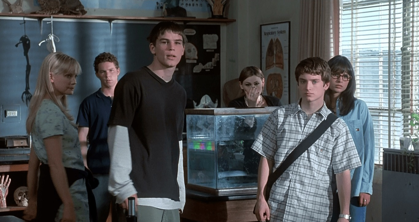 Cast line-up - Laura Harris, Shawn Wayne Hatosy, Josh Hartnett, Clea DuVall, Elijah Wood and Jordana Bewster in The Faculty (1998)