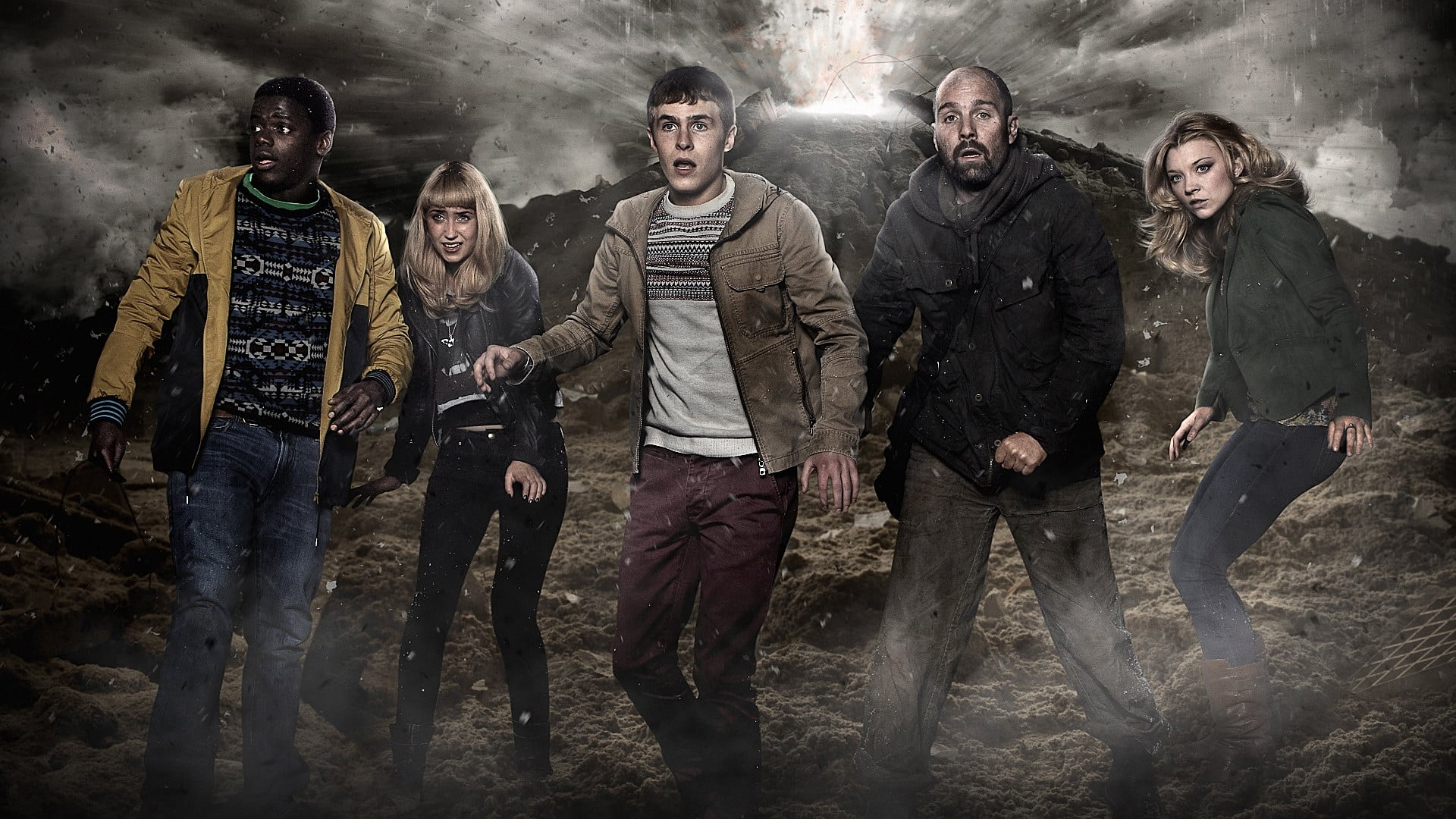 Character line-up - (l to r) Daniel Kaluuya, Lily Loveless, Iain De Caestecker, Johnny Harris and Natalie Dormer in The Fades (2011)