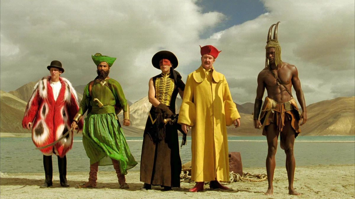 Charles Darwin (Leo Bill), The Indian (Jeetu Verma), The Bandit (Emil Hostina), Luigi (Robin Smith) and Otto Benga (Marcus Wesley) in The Fall (2006)