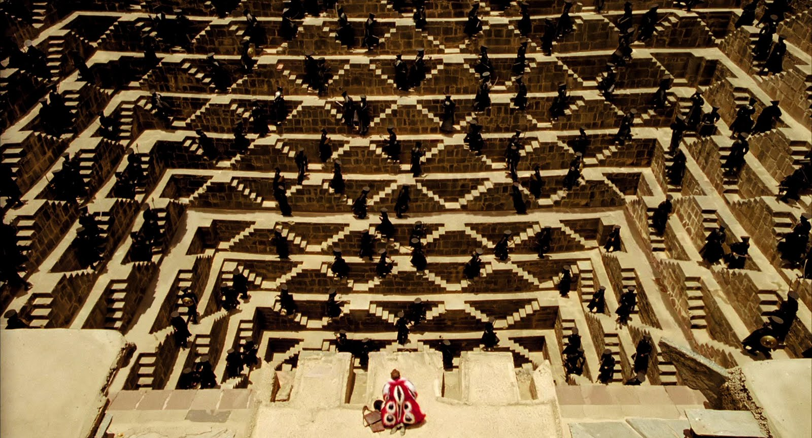 The soldiers waiting in the Chand Baori stepwell in The Fall (2006)