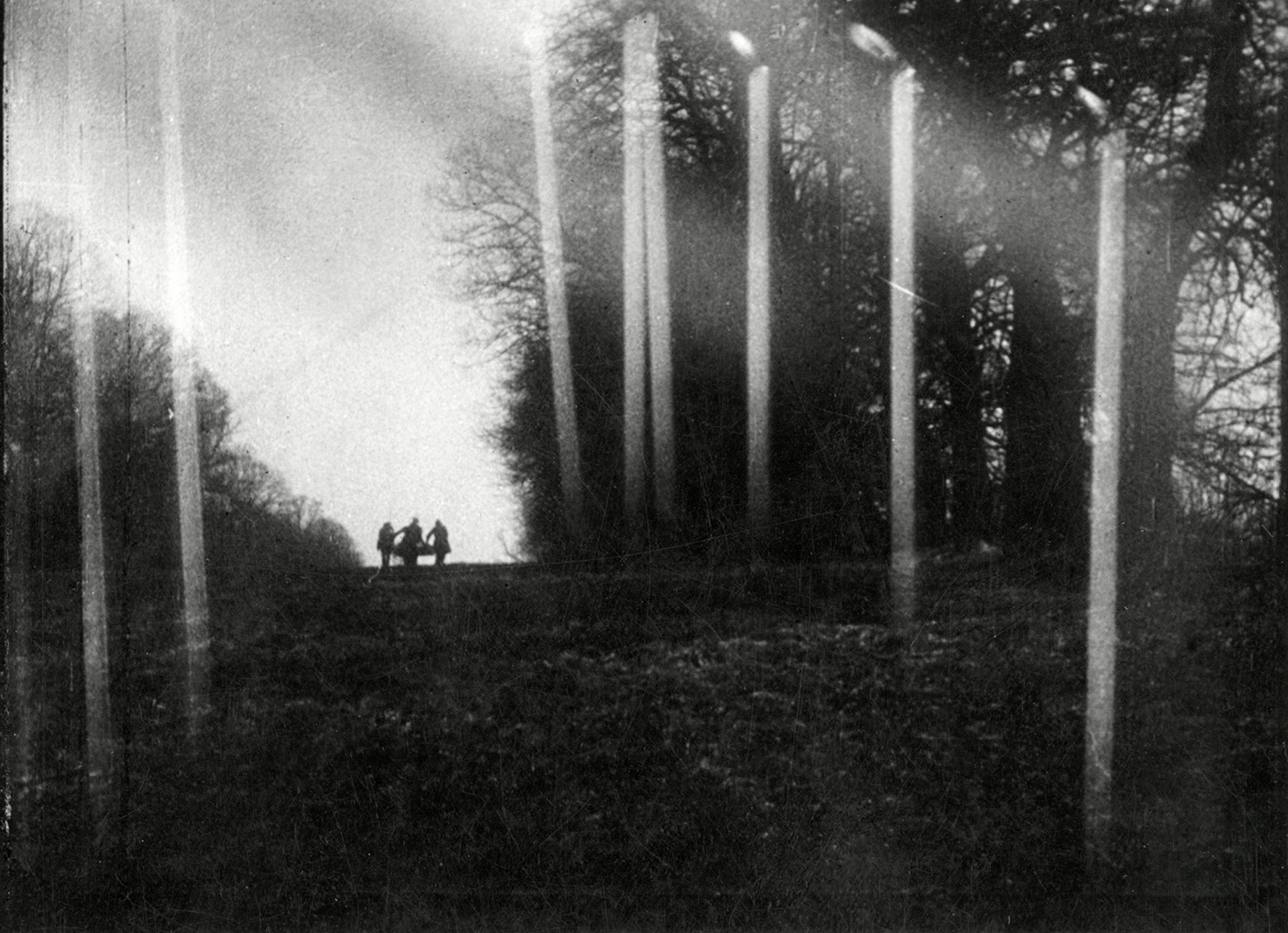 The funeral cortege with superimposed candles in The Fall of the House of Usher (1928)