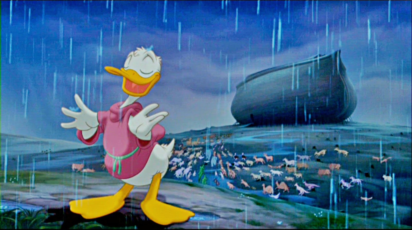Donald Duck supervises getting the animals aboard Noah's Ark in the Pomp and Circumstances segment in Fantasia 2000 (1999)
