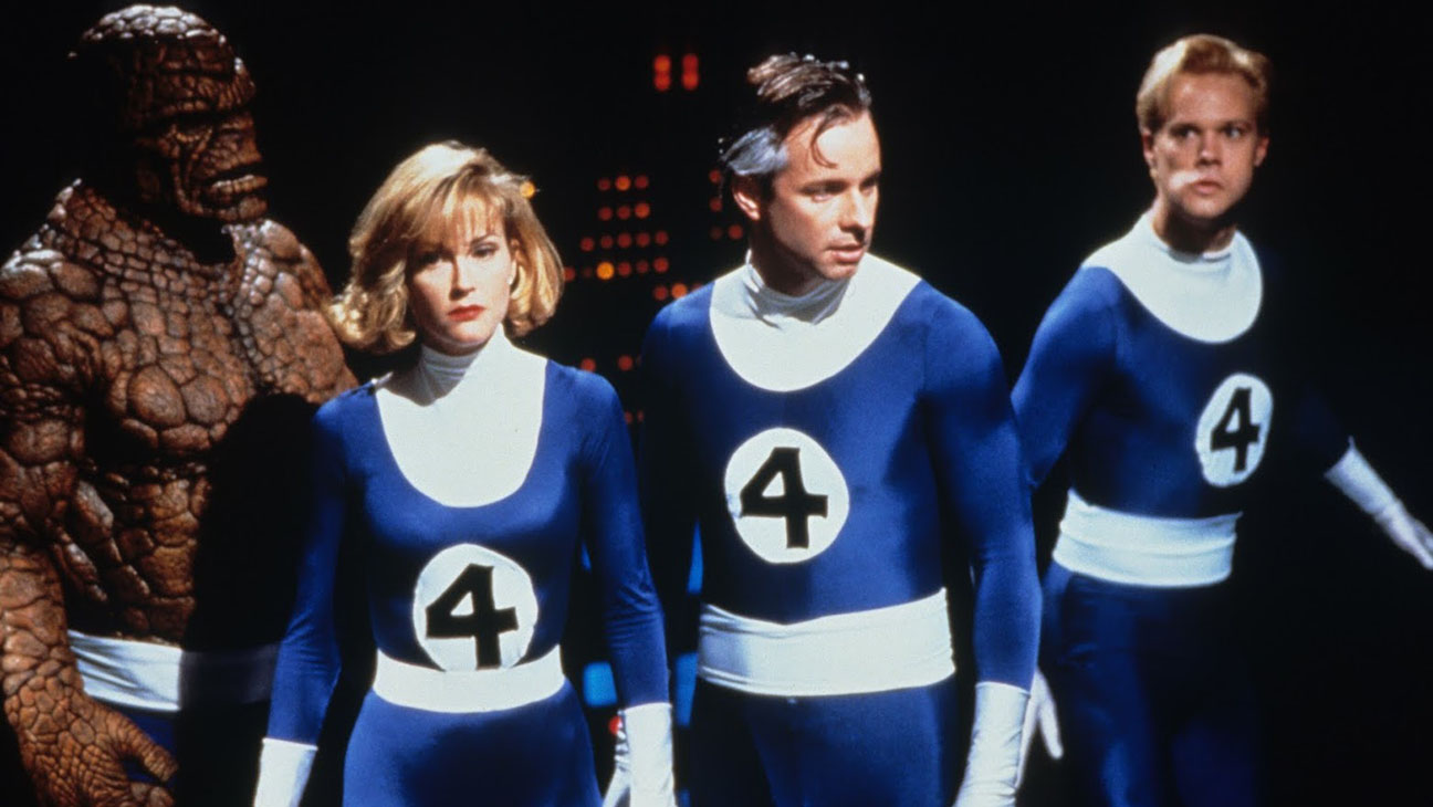 Carl Ciarfalio as The Thing, Rebecca Staab as Susan Storm, Alex Hyde-White as Reed Richards and Jay Underwood as Johnny Storm in The Fantastic Four (1994)