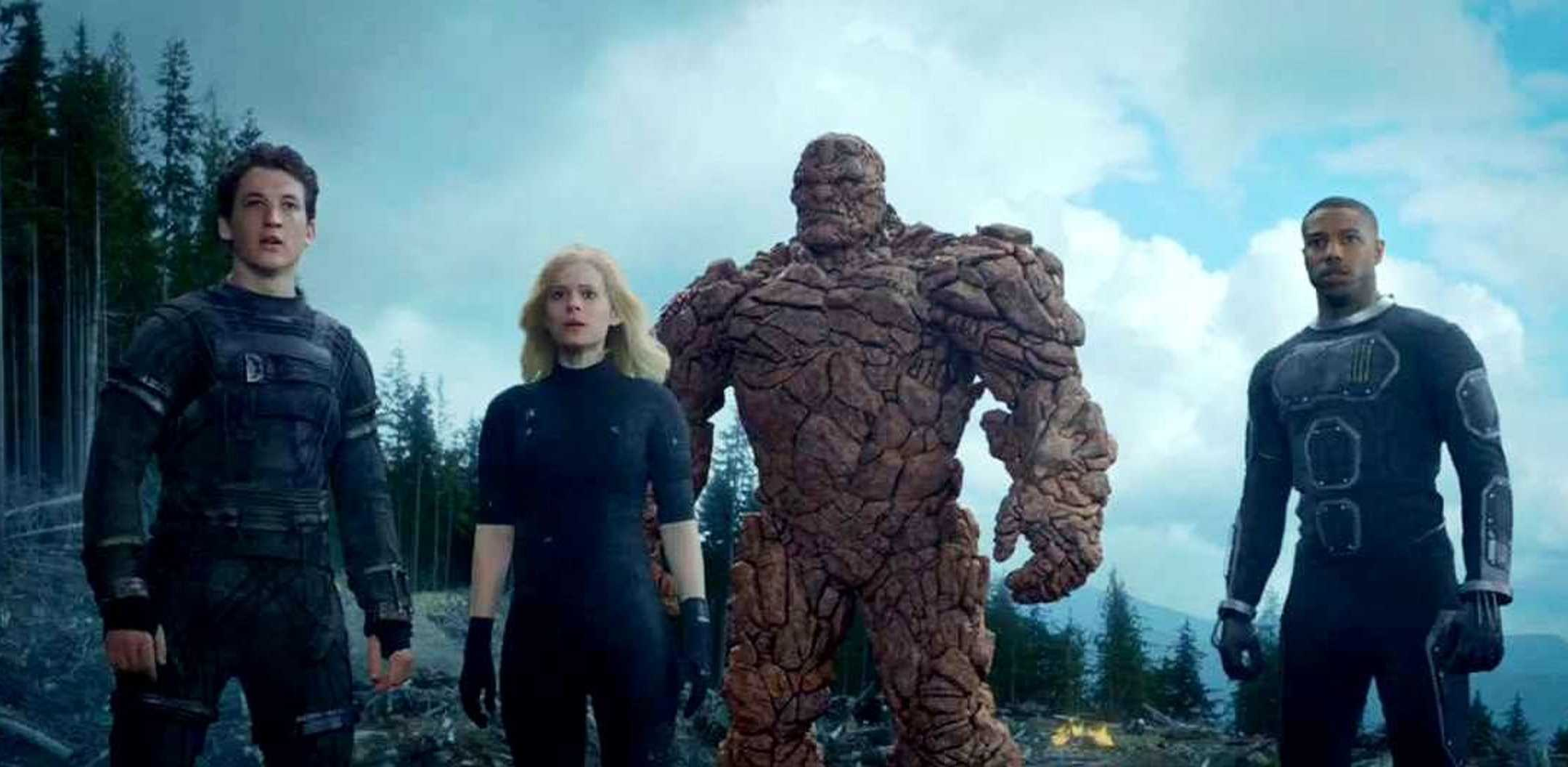 Reed Richards (Miles Teller), Sue Storm (Kate Mara), Ben Grimm (Jamie Bell) and Johnny Storm (Michael B. Jordan) in Fantastic Four (2015)