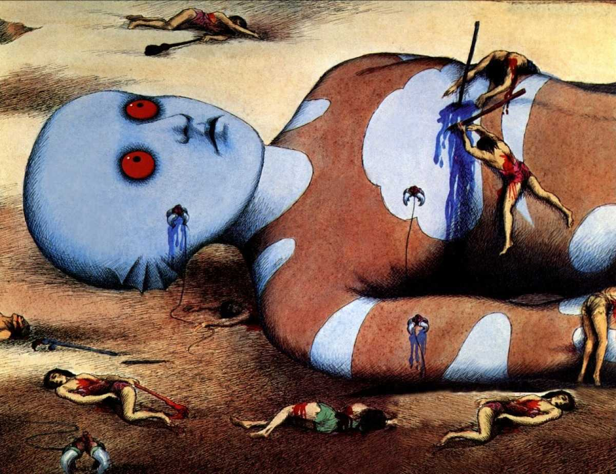 The Oms turn and attack their Draag masters in Fantastic Planet (1973)