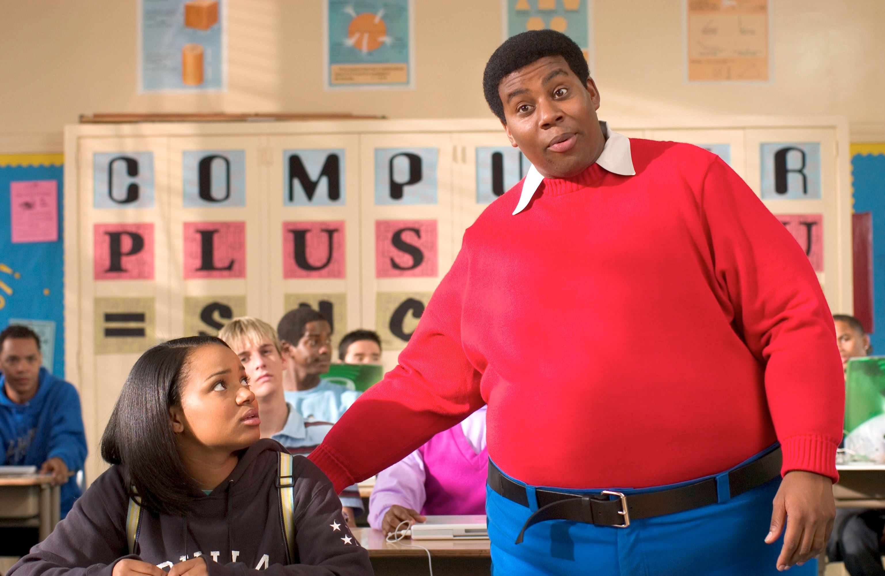 Fat Albert (Kenan Thompson) having stepped out into the real world to help Kyla Pratt in Fat Albert (2004)