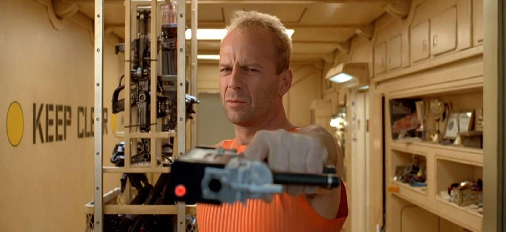 Bruce Willis as former security forces officer turned cab driver Korben Dallas in The Fifth Element (1997)