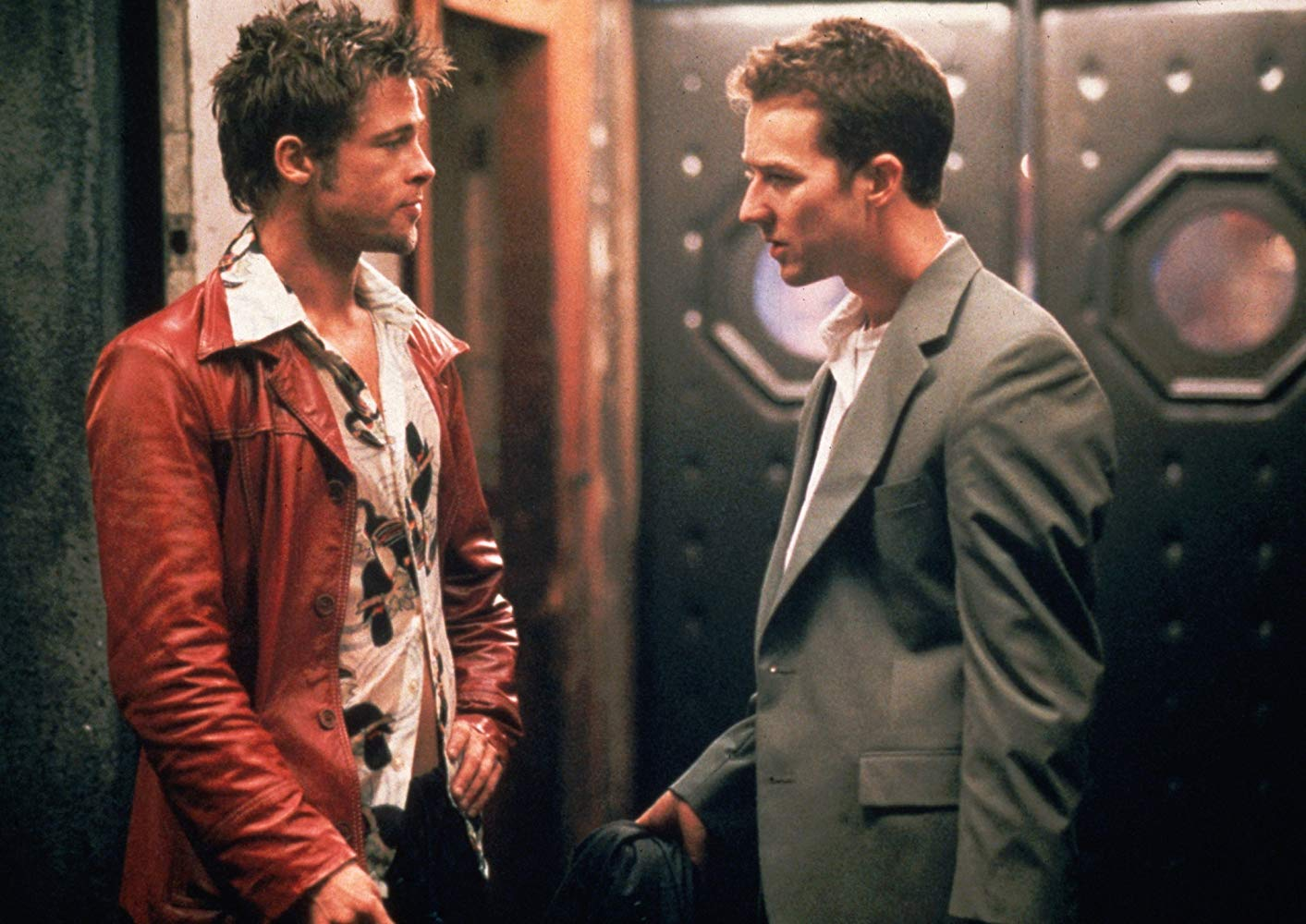 Tyler Durden (Brad Pitt) and Jack (Edward Norton) in Fight Club (1999)