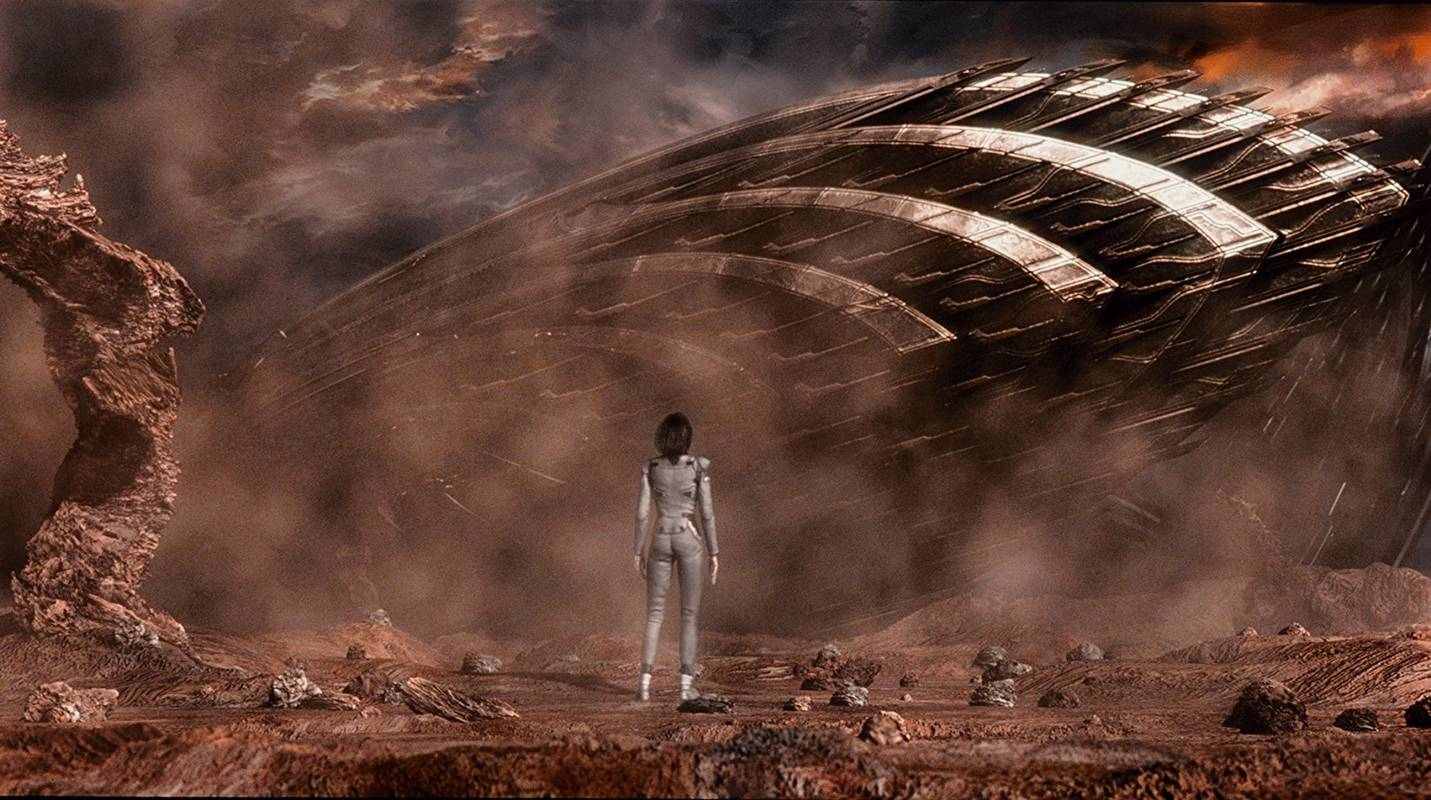 Aki at the site of the alien ship in Final Fantasy: The Spirits Within (2001)