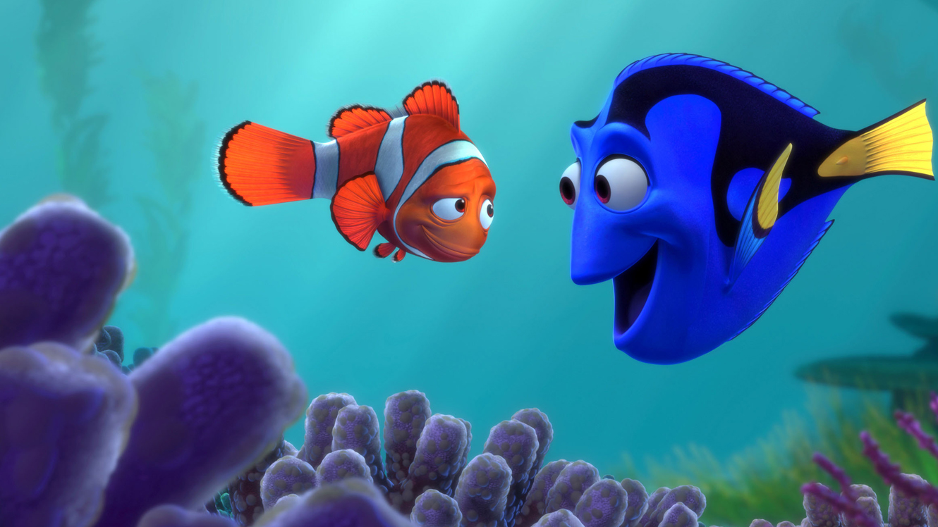 Marlin (voiced by Albert Brooks) meets Dory (voiced by Ellen DeGeneres) in Finding Nemo (2003)
