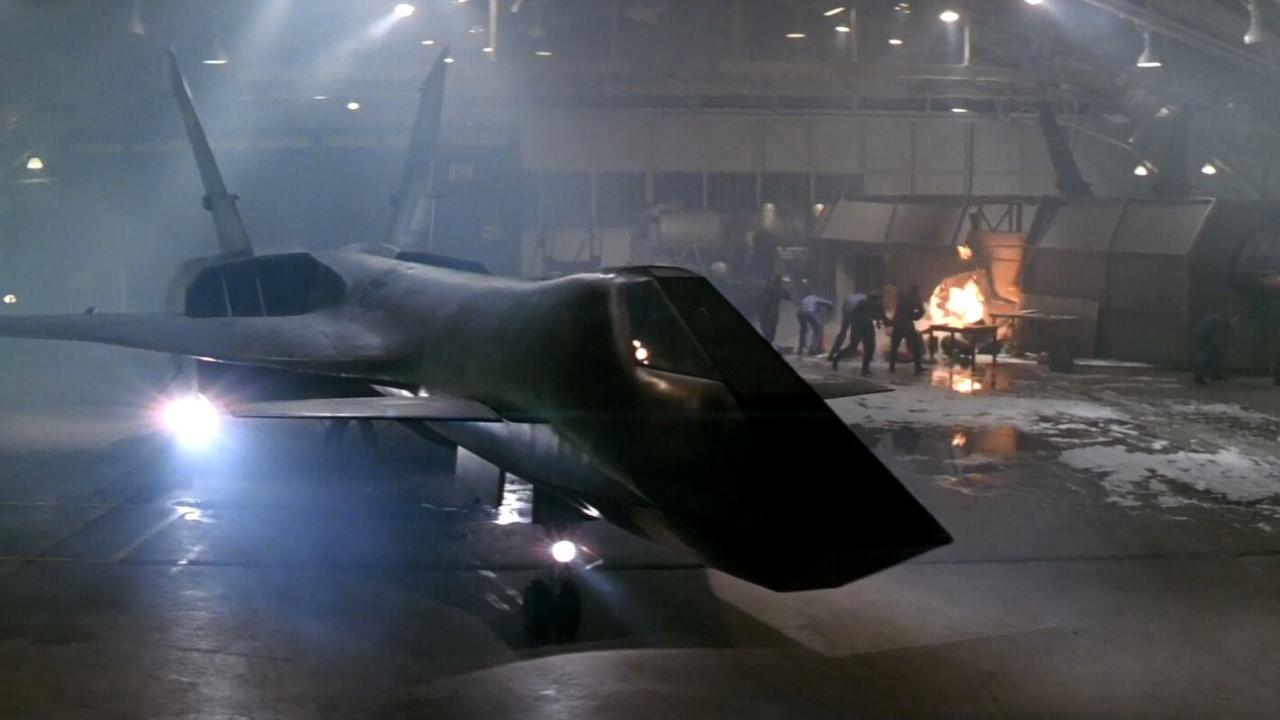 The Firefox plane in its hangar in Firefox (1982)
