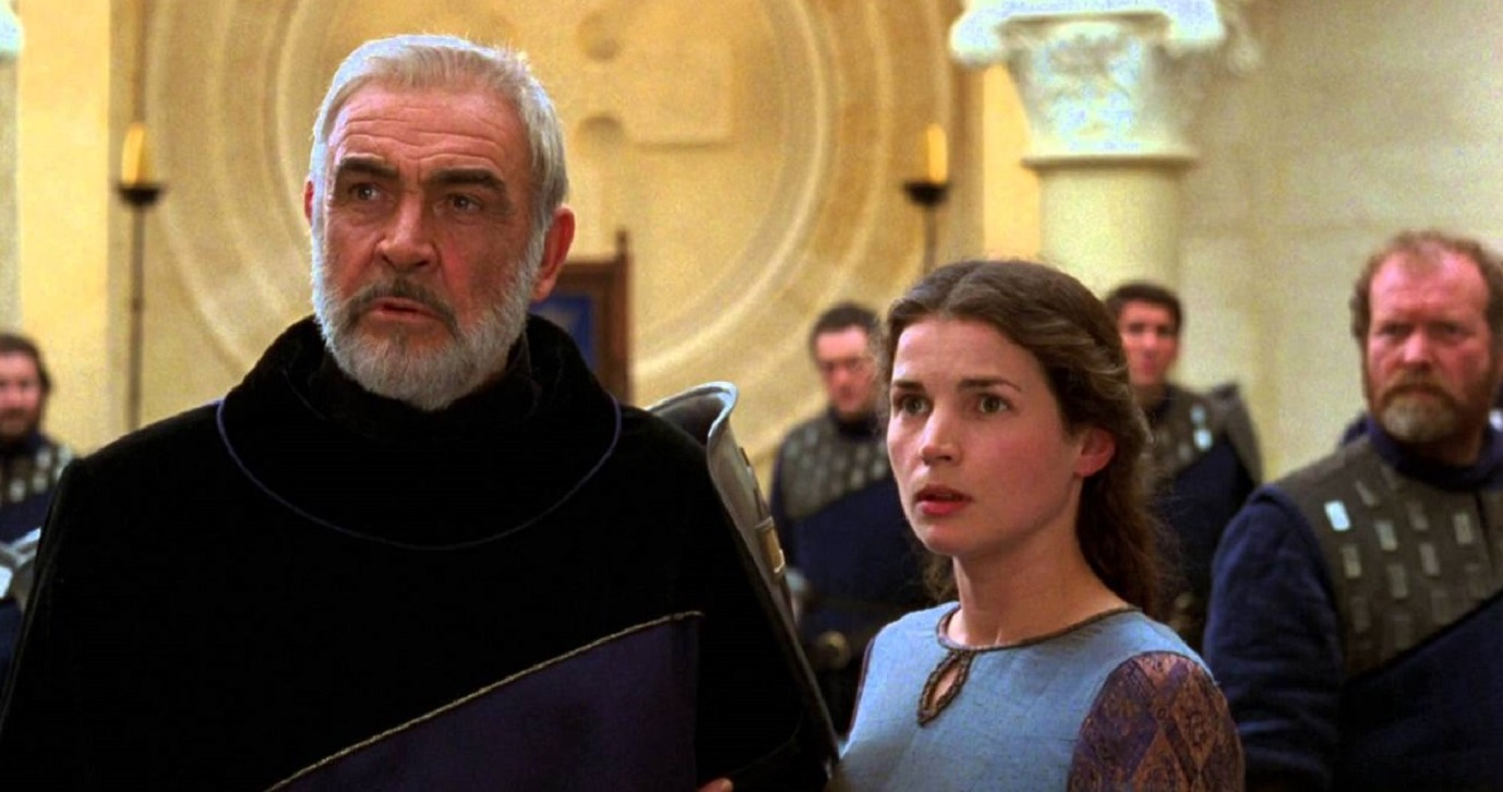 King Arthur (Sean Connery) and Guinevere (Julia Ormond) in First Knight (1995)