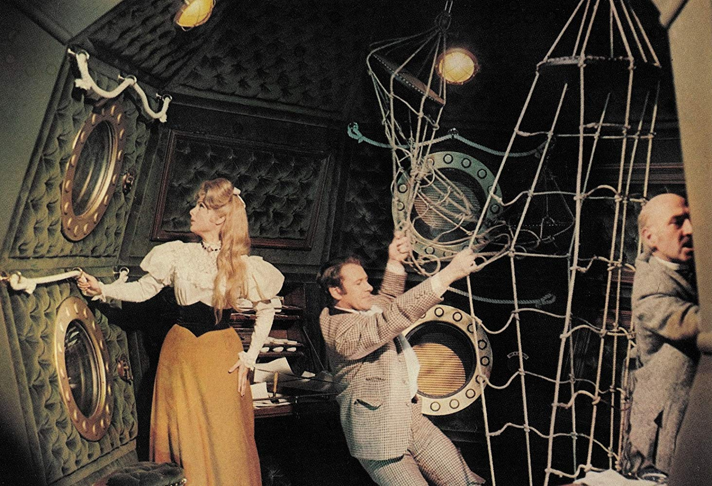 (l to r) Martha Hyer, Edward Judd and Lionel Jeffries launch in the Cavorite ship in The First Men in the Moon (1964)