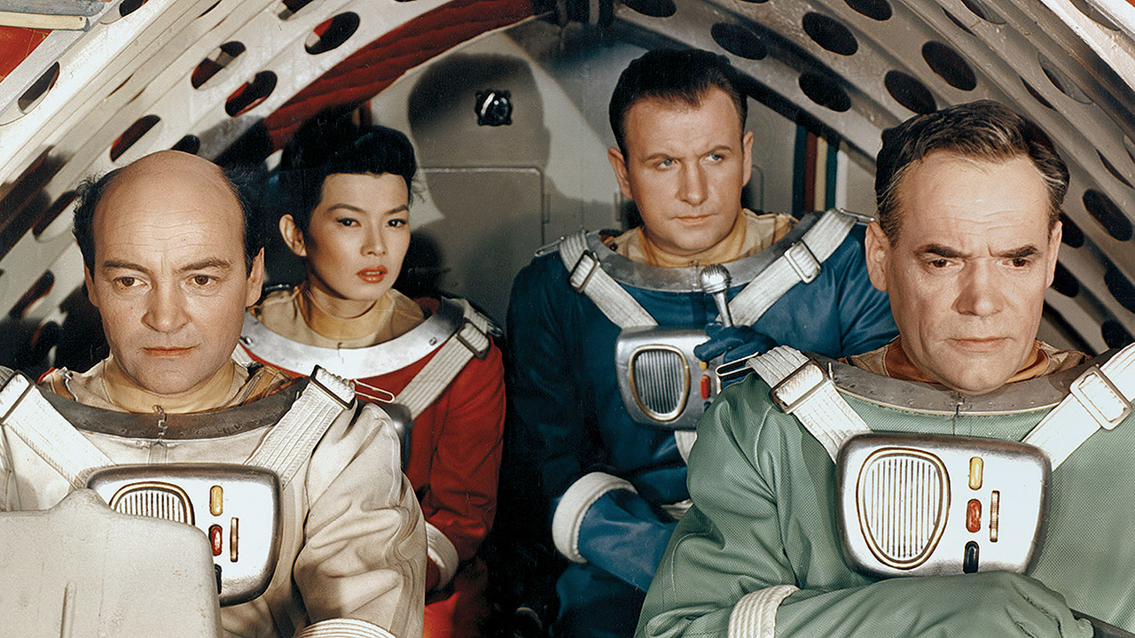 The crew of the Cosmostrater 1 (l to r) Ignacy Machowski, Yoko Tani, Gunther Simon and Oldrich Lukas in First Spaceship on Venus (1959)