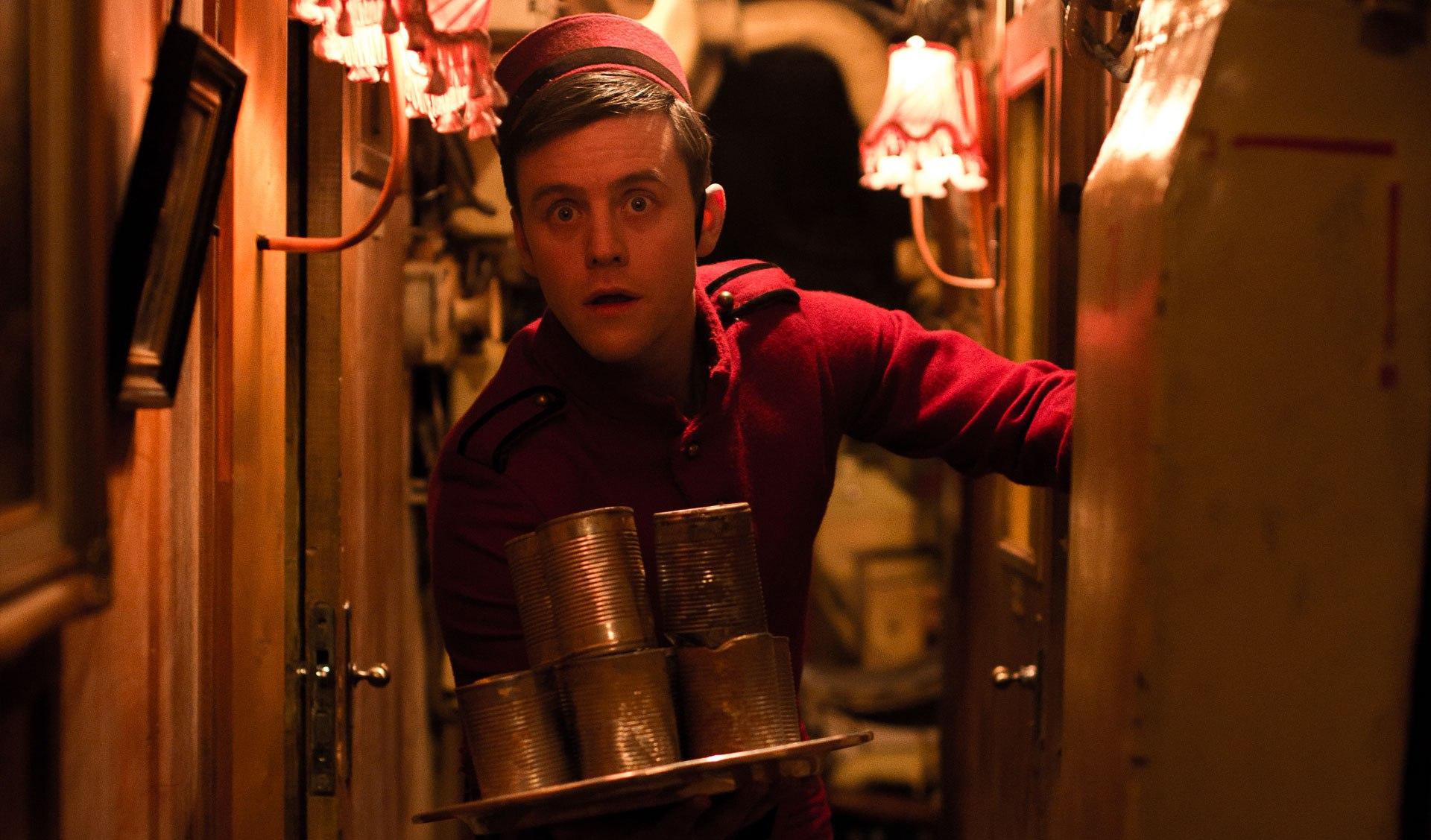 Cerith Flinn as the bellboy Bernard in The Fitzroy (2017)