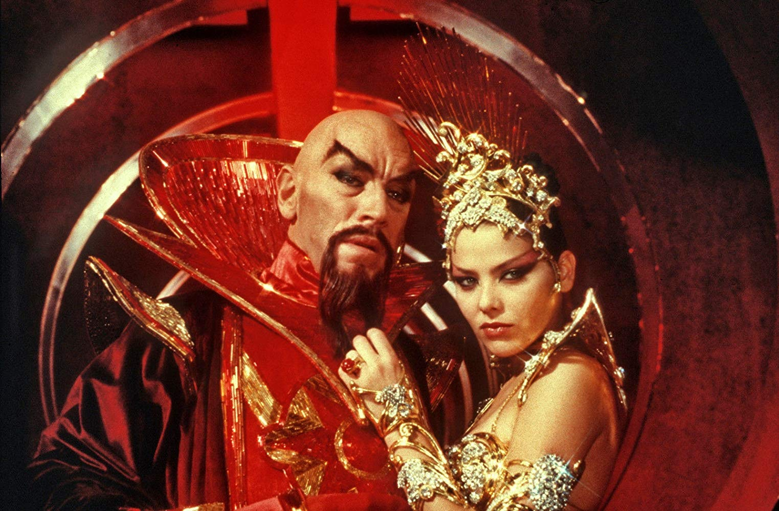 Max Von Sydow as Ming the Merciless and Ornella Muti as Princess Aura in Flash Gordon (1980)