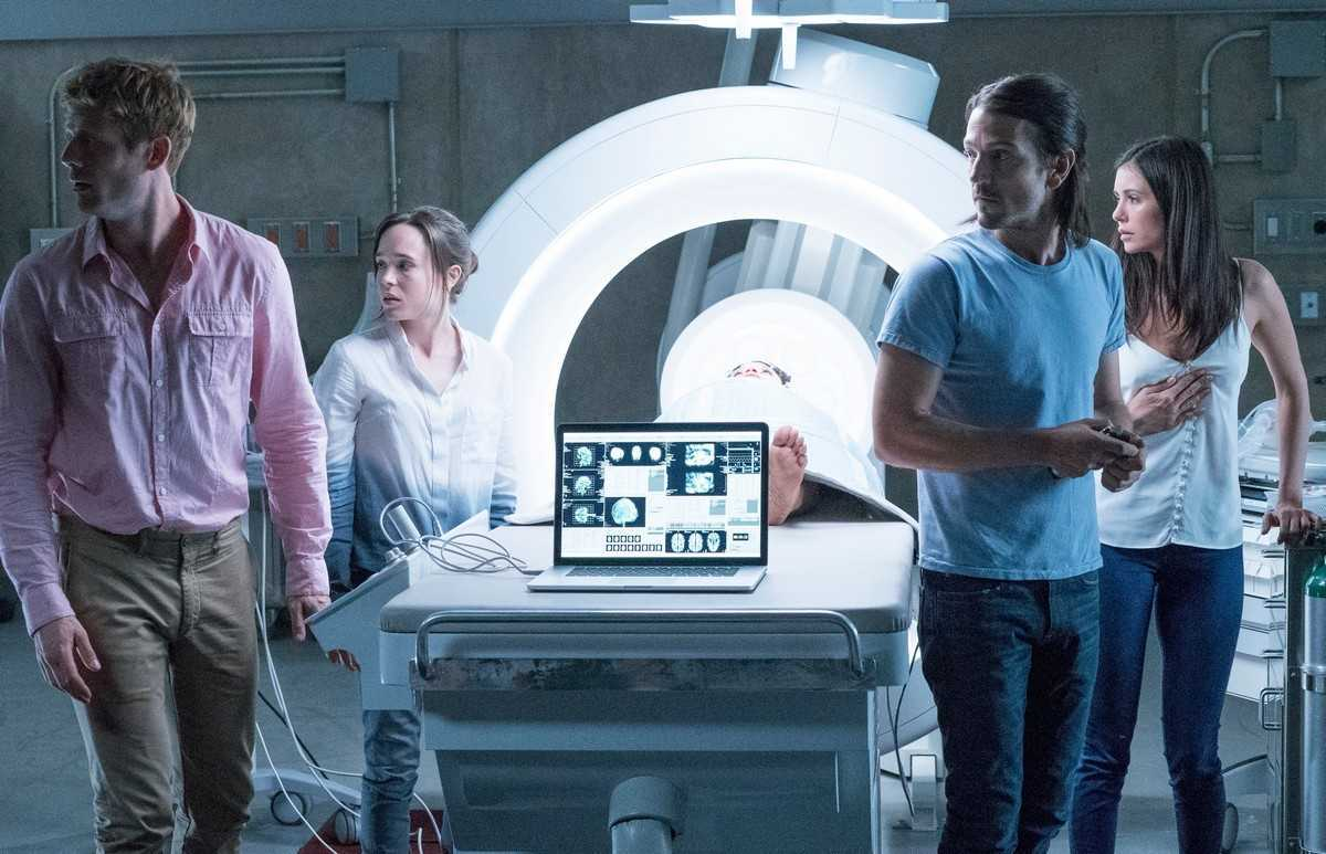 Ready to venture into the afterlife - (l to r) James Norton, Ellen Page, Diego Luna and Nina Dobrev in Flatliners (2017)