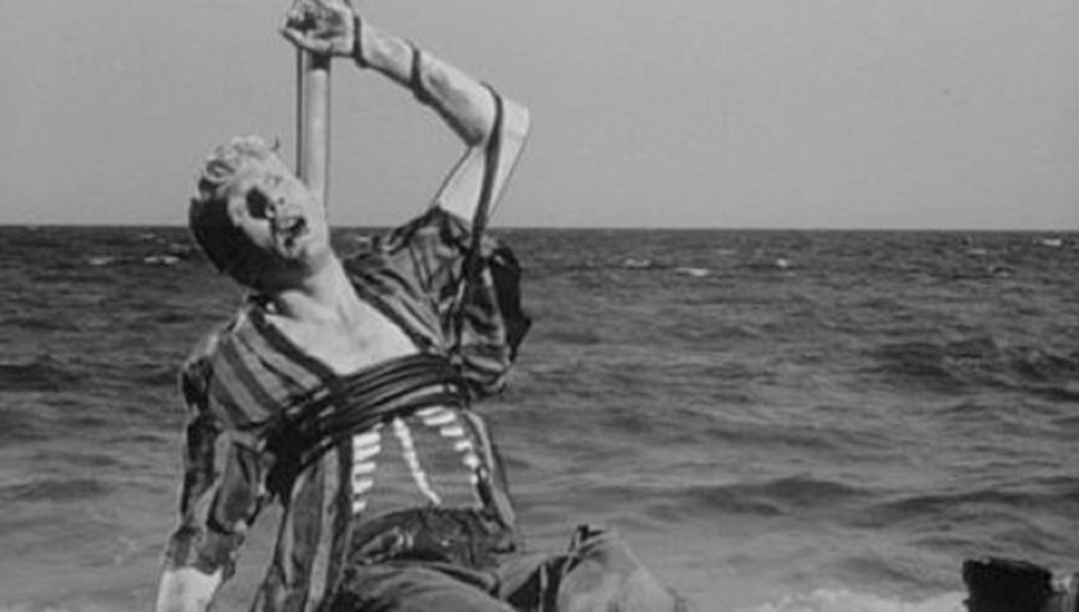 Ray Tudor gored to the skeleton on a raft in The Flesh Eaters (1964)