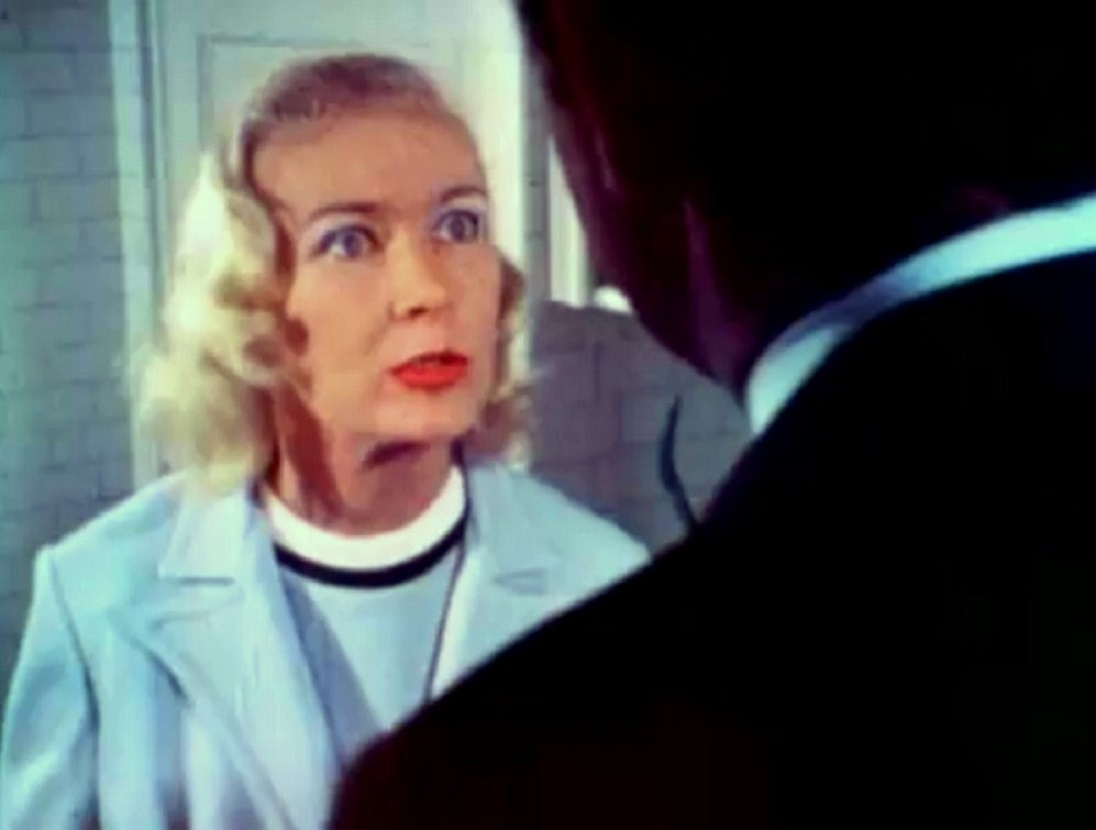 Veronica Lake as a Nazi mad scientist in Flesh Feast (1970)