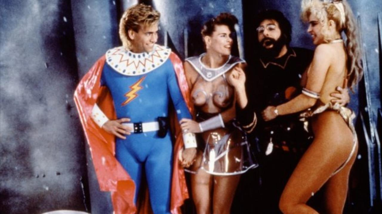 Flesh Gordon (Vince Murdocco) (l) back for more adventures in Flesh Gordon and the Cosmic Cheerleaders (1991)