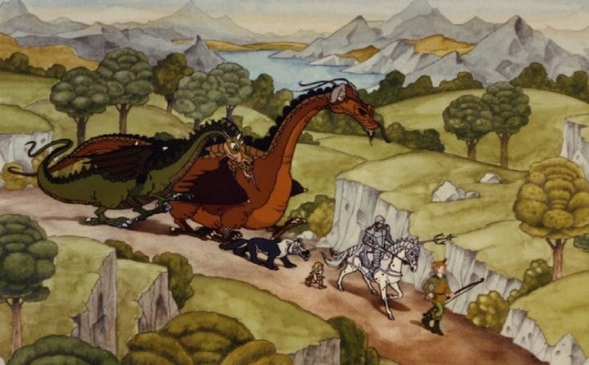 The dragons Gorbash, and Smrgol, the wolf Aragh, the elf Giles of the Tree, Sir Orrin Neville-Smythe and the archer Danielle in The Flight of Dragons (1982)