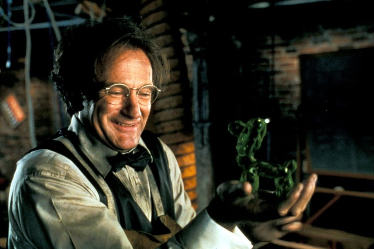Robin Williams as Professor Philip Brainard, along with a handful of the sentient flubber