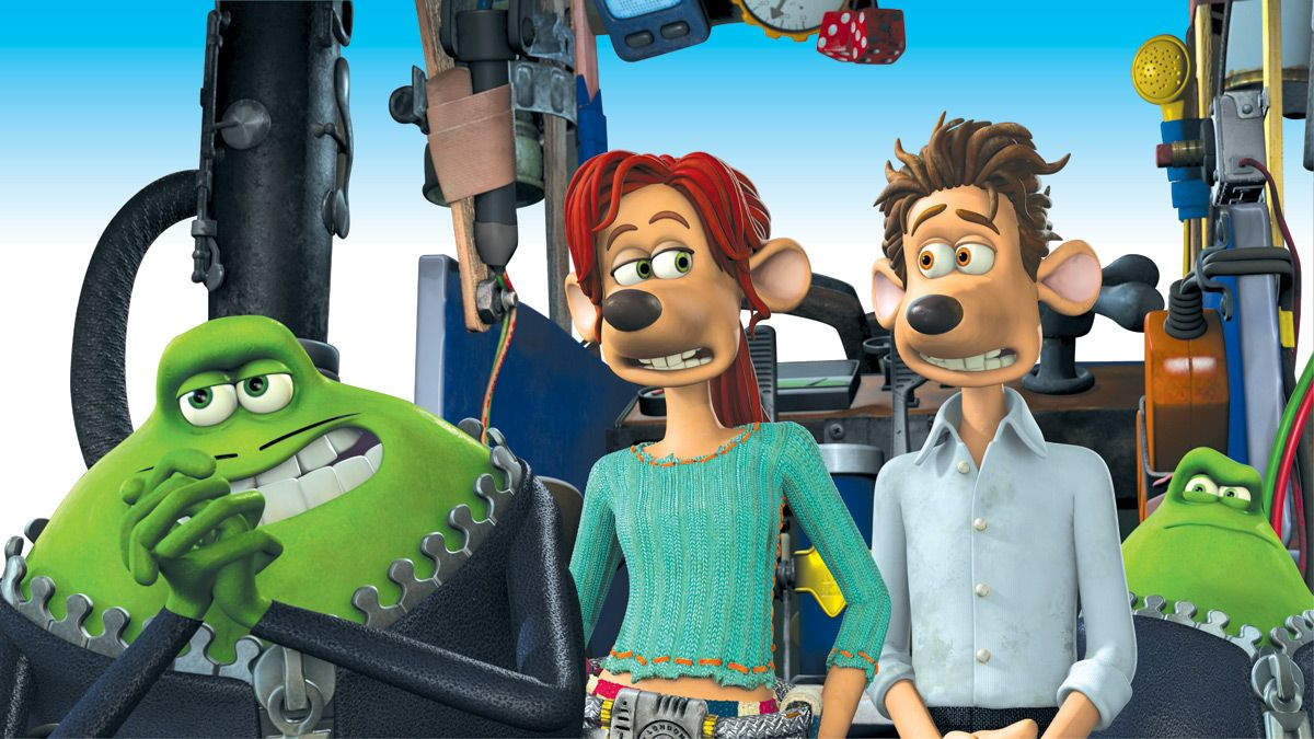 Le Frog (voiced by Jean Reno),  Rita (voiced by Kate Winslet) and Roddy St James (voiced by Hugh Jackman) in Flushed Away (2006)
