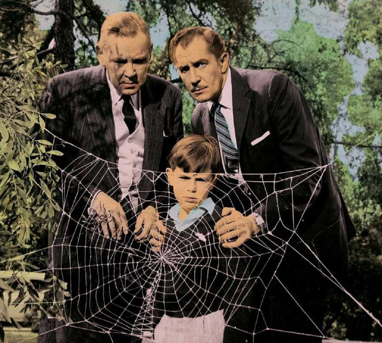 Herbert Marshall, Vincent Price and young Charles Herbert in The Fly (1958)