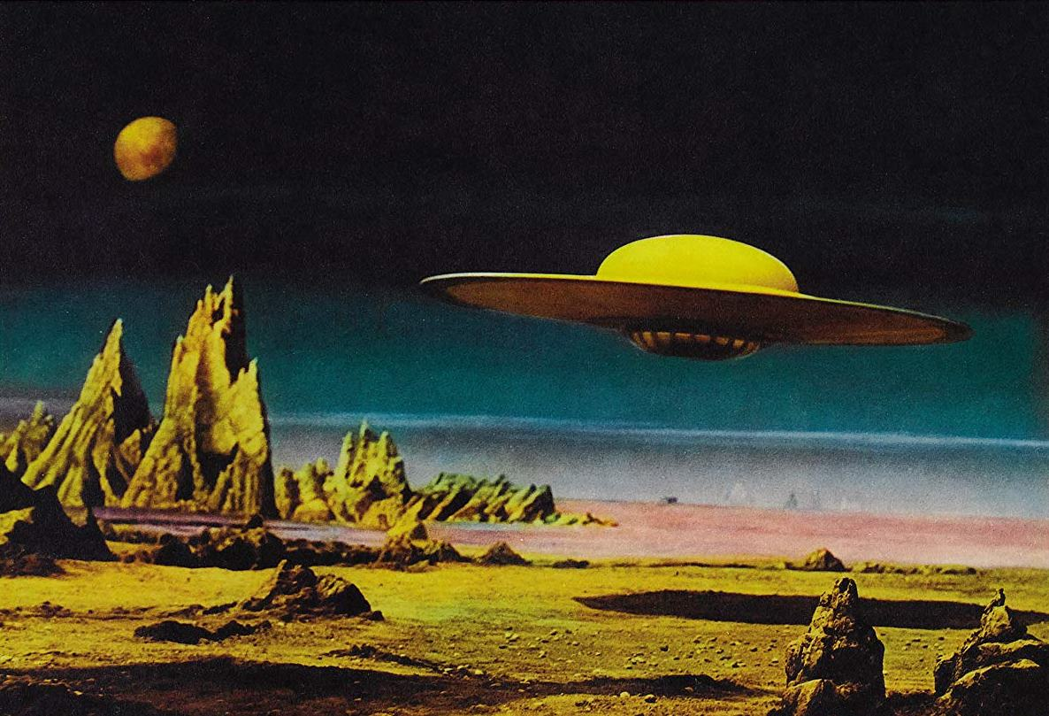 Earth interplanetary cruiser C57D lands on Altair IV in Forbidden Planet (1956)