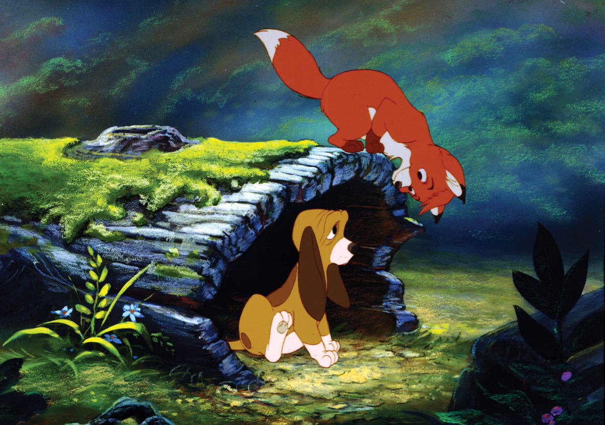 Best friends - the dog Copper (voiced by Kurt Russell) and the fox Tod (voiced by Mickey Rooney) in The Fox and the Hound (1981