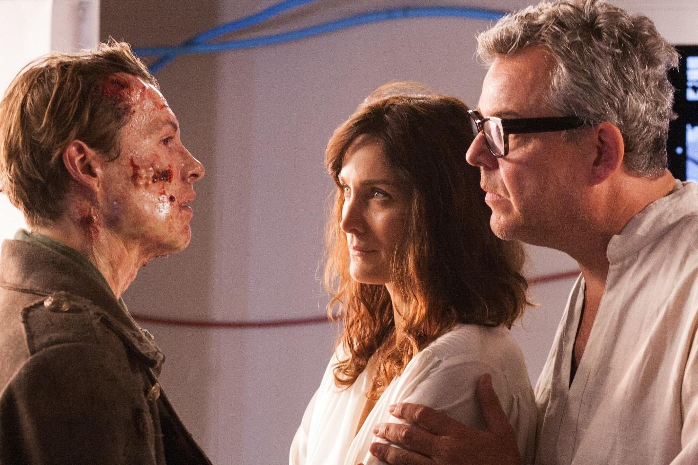 The Monster (Xavier Samuel) with Dr Frankenstein (Danny Huston) and Elizabeth (Carrie-Ann Moss) in Frankenstein (2015)