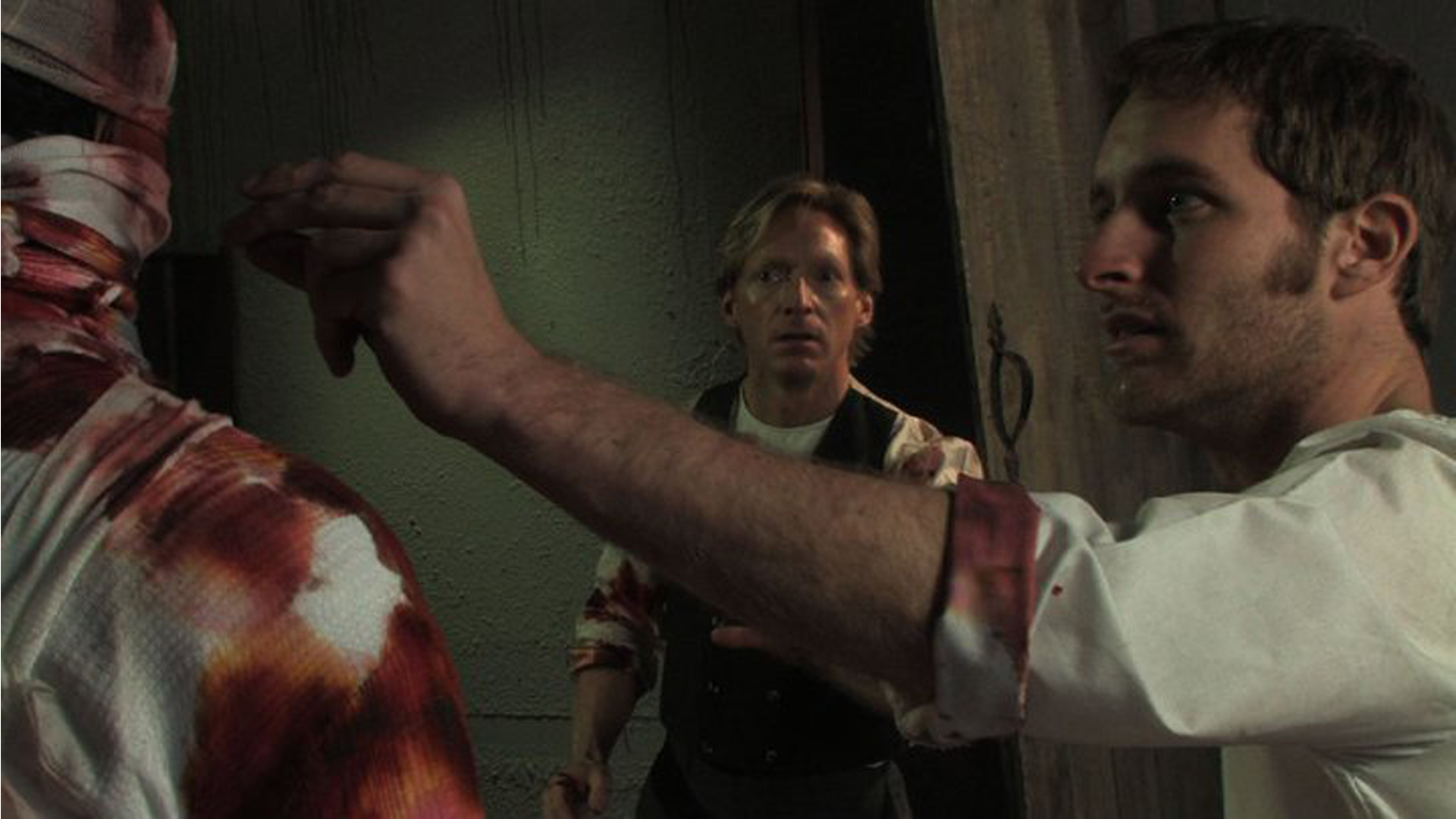 Victor Frankenstein (Adam Stephenson) unveils his creation while manservant Jay Disney looks on in Frankenstein: Day of the Beast (2011)