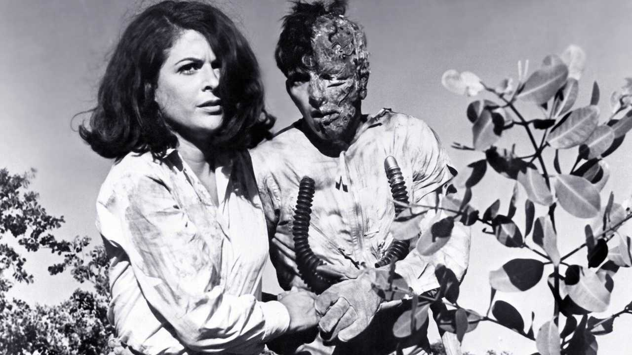 Android astronaut Frank Saunders (Robert Reilly) and Nancy Marshall in Frankenstein Meets the Spacemonster (1965)