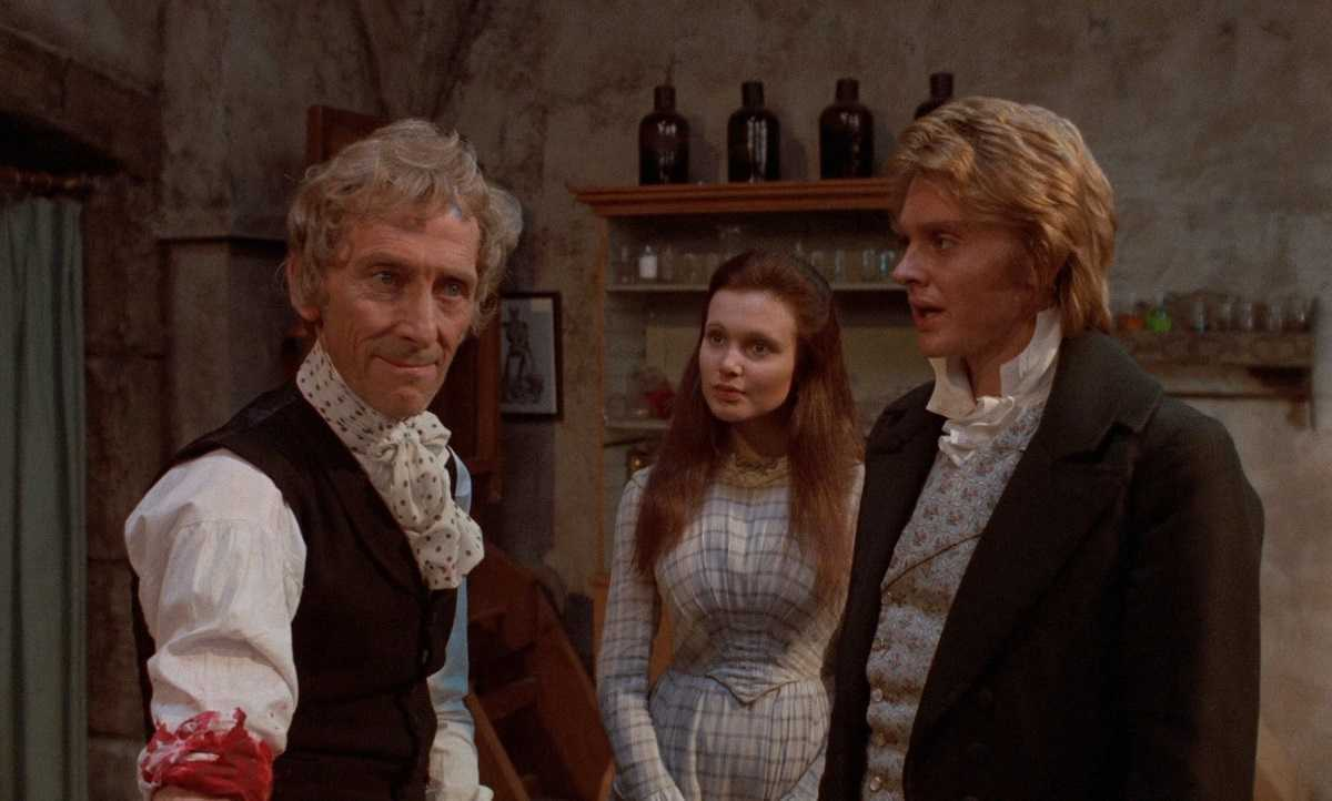 (l to r) Baron Frankenstein (Peter Cushing), Madeline Smith and Shane Briant in Frankenstein and the Monster from Hell (1973)