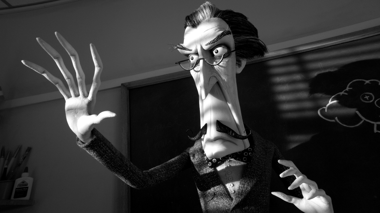 The teacher Mr Rzykurski (voiced by Martin Landau) - a homage to Tim Burton's idol Vincent Price in Frankenweenie (2012)