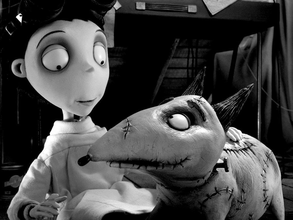 Victor Frankenstein (voiced by Charlie Tahan) and his reanimated dog Sparky in Frankenweenie (2012)