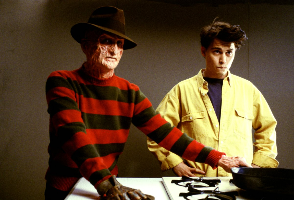 Freddy Krueger (Robert Englund) and a cameoing Johnny Depp in Freddy's Dead: The Final Nightmare (1991)