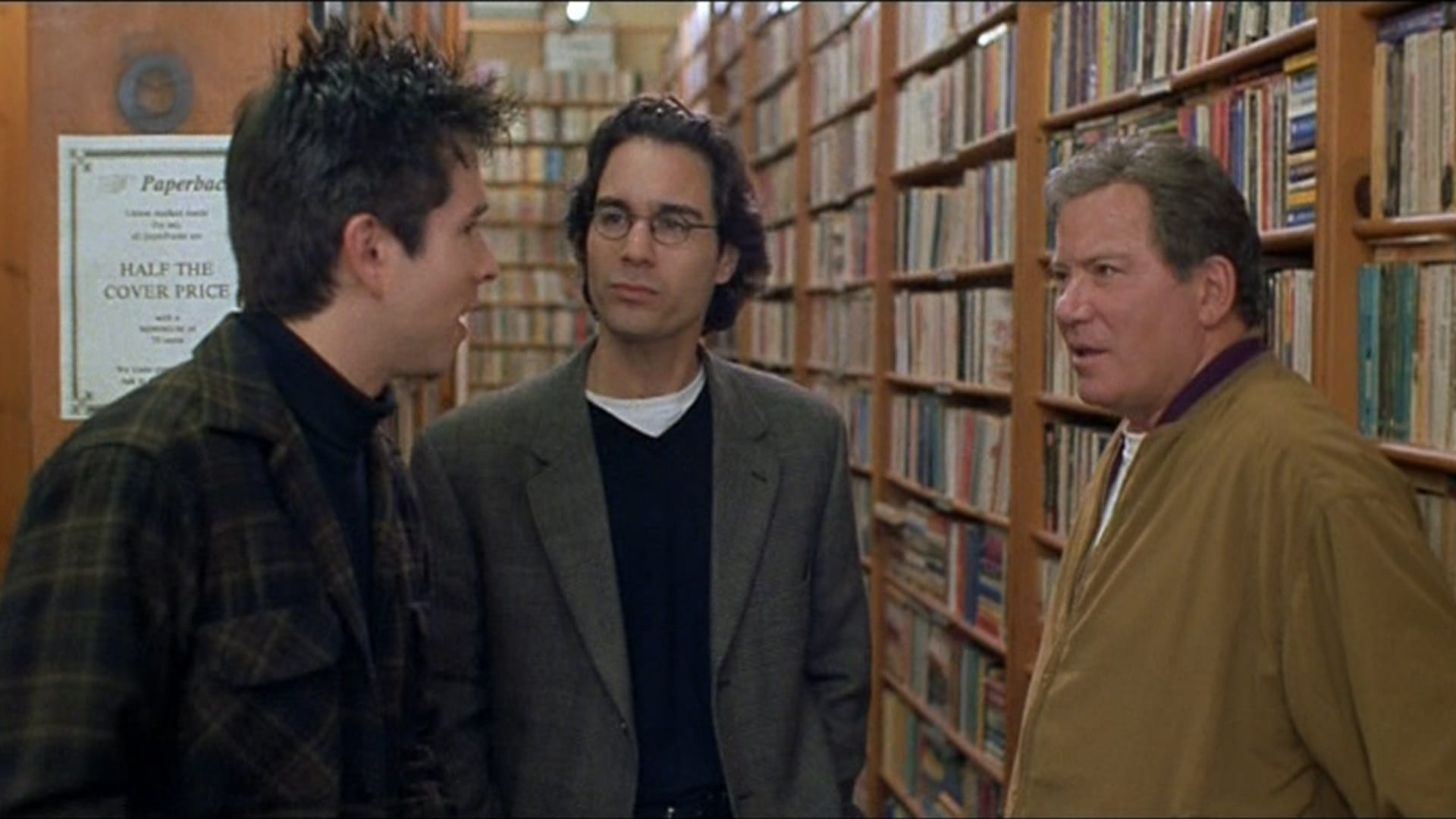 (l to r) Fans Eric McCormack and Rafer Wiegel meet their idol William Shatner in Free Enterprise (1998)