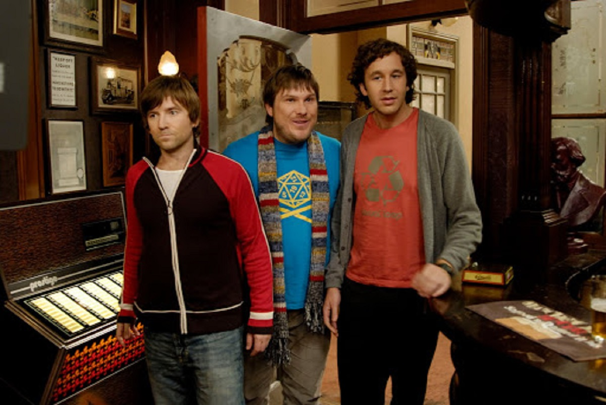Dean Lennox Kelly, Marc Wootton and Chris O'Dowd in Frequently Asked Questions About Time Travel (2009)