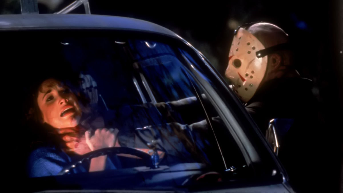 Dana Kimmell attacked by Jason Voorhees (Richard Brooker) in Friday the 13th Part III in 3D (1982)
