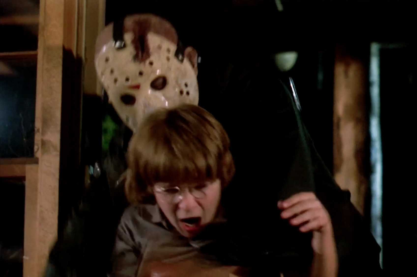 Jason Voorhees (Ted White) attacks young Corey Feldman in Friday the 13th: The Final Chapter (1984)