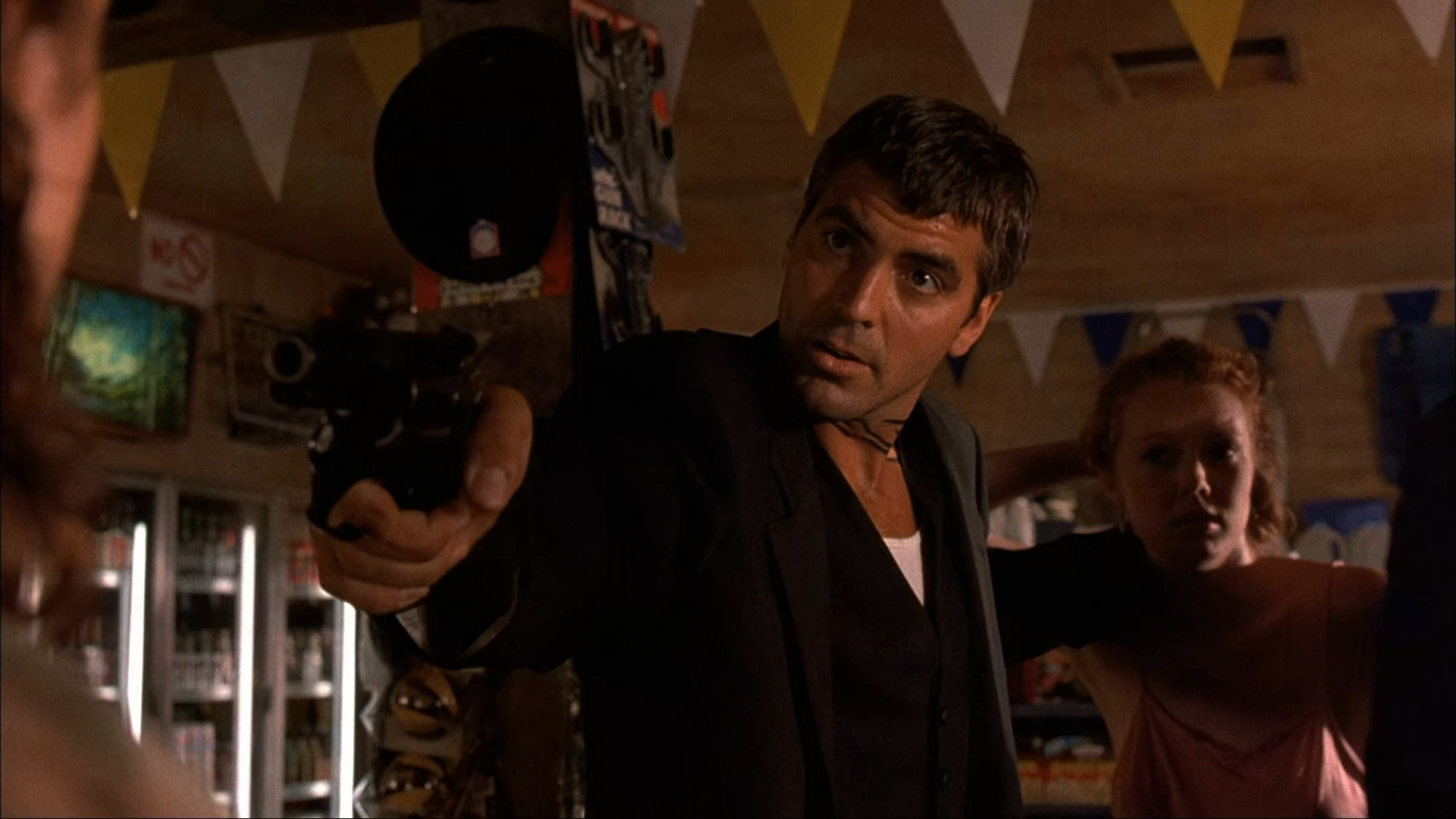 George Clooney in the opening holdup scene in From Dusk Till Dawn (1996)