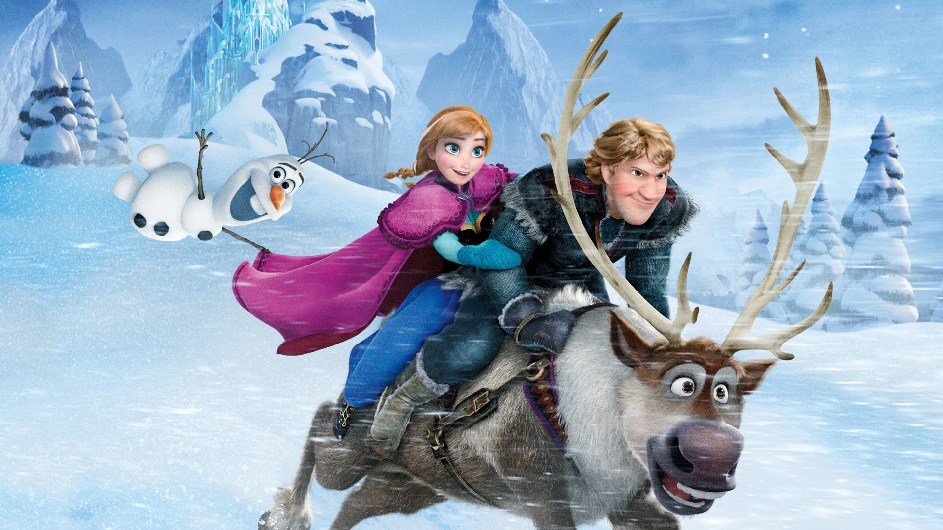 (l to r) Olaf (voiced by Josh Gad), Anna (voiced by Kristen Bell) and Kristoff (voiced by Jonathan Groff) race on the reindeer Sven in Frozen (2013)