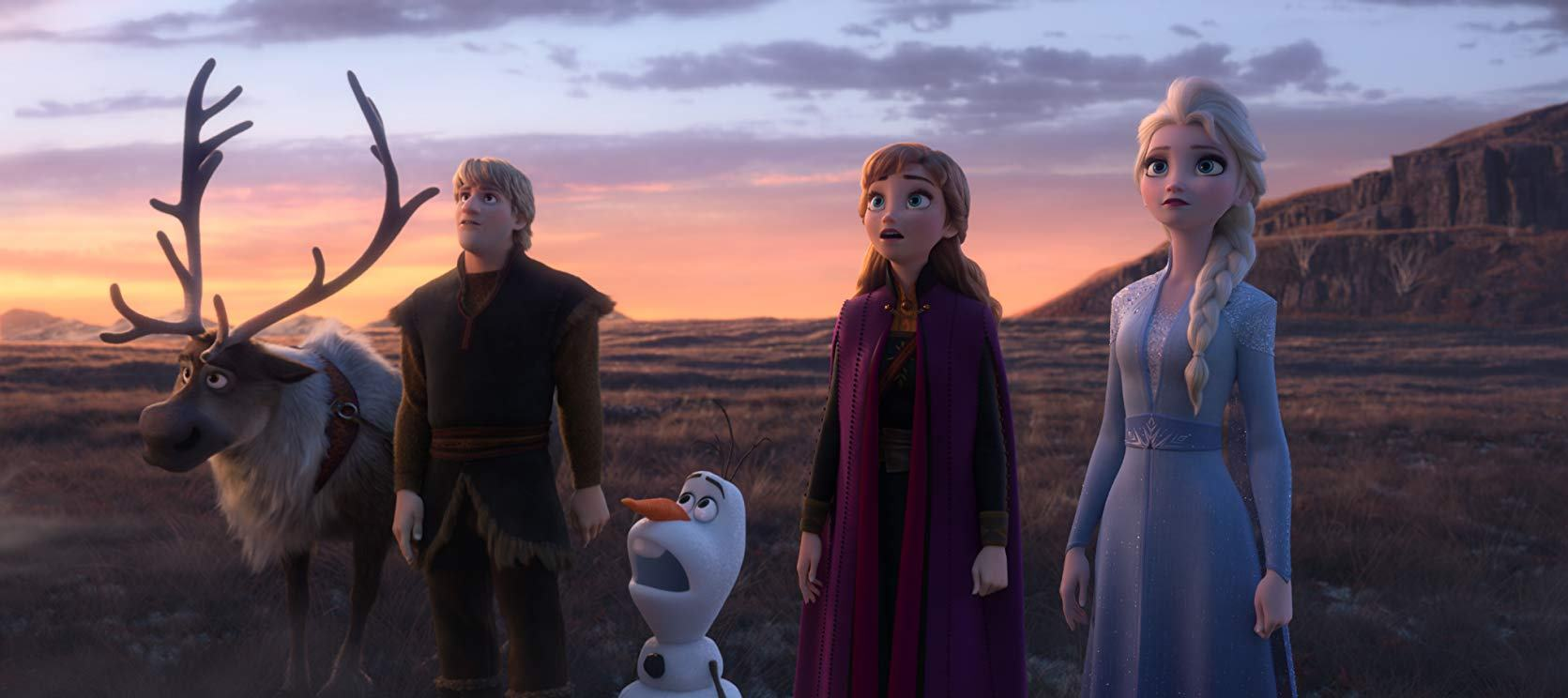 Sven the reindeer, Kristoff (voiced by Jonathan Groff), Olaf (voiced by Josh Gad), Anna (voiced by Kristen Bell) and Elsa (voiced by Idina Menzel) in Frozen II (2019)